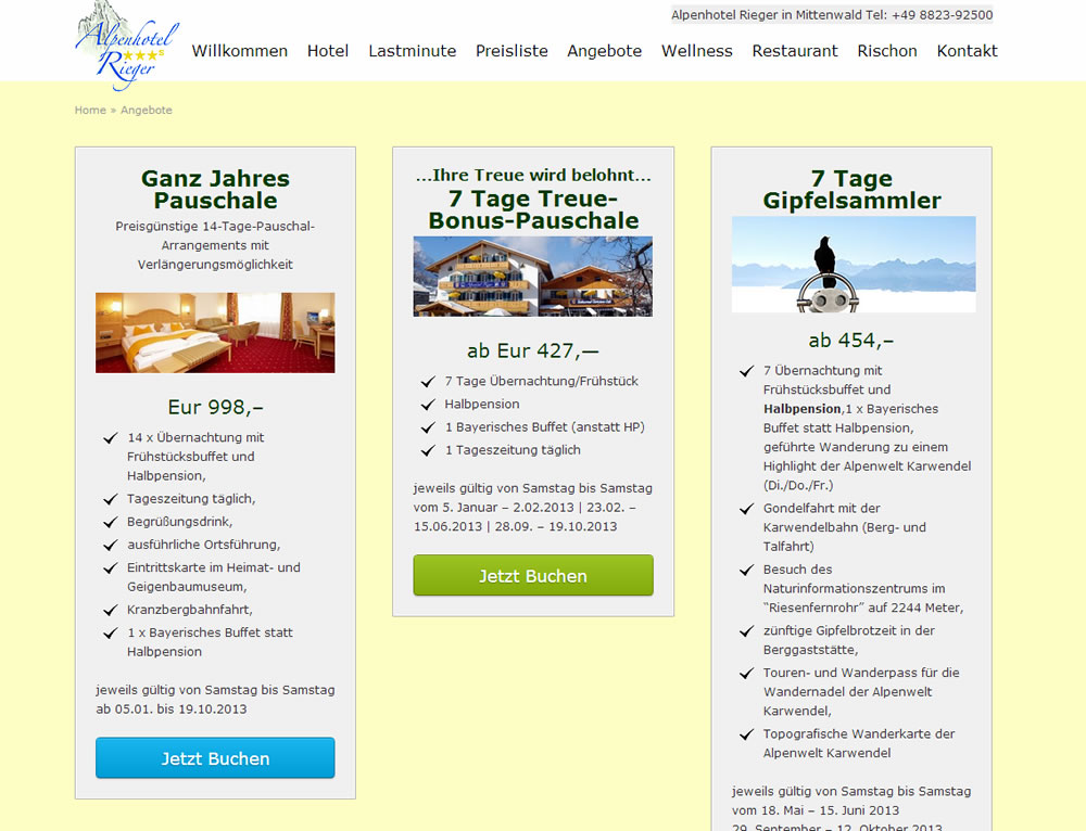 Hotel Rieger Angebote Websinn
