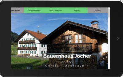 Bauernhaus Jocher –  Onepage Website